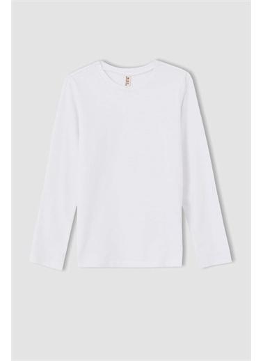 DeFacto Kız Çocuk Basic Uzun Kollu Tişört Beyaz